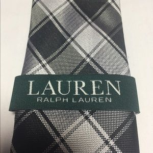 Lauren Ralph Lauren black and white plaid tie